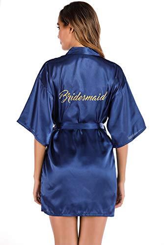 MARYSAY Kimono de mariée ou de demoiselle d'honneur en satin à col en V oblique, pour fête de mariage - Taille S à XXL, Bleu marine 01., M