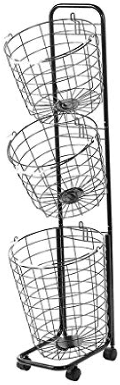 REGAL Bad Eisen Schmutzige Kleidung Ablagekorb, Multifunktions Hngende Wschekorb Mit Rad, Zerlegen Lagerbehlter (Farbe   SCHWARZ, gre   3 Tier)