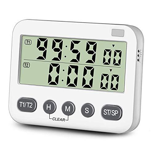 Mogzank Temporizador Doble con Volumen de Alarma Ajustable de 3 Niveles e Interruptor de Encendido/Apagado Temporizador de CronóMetro Digital para Cocinar
