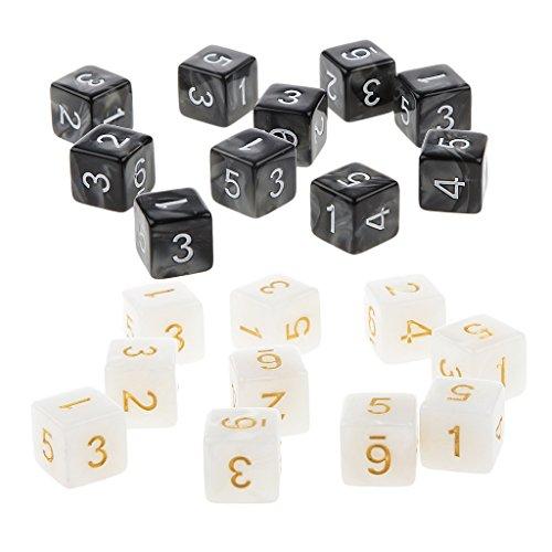 MagiDeal 20 Piezas D6 Dados de Seis Caras de Números para Jugar DND RPG Juegos - Blanco y Negro
