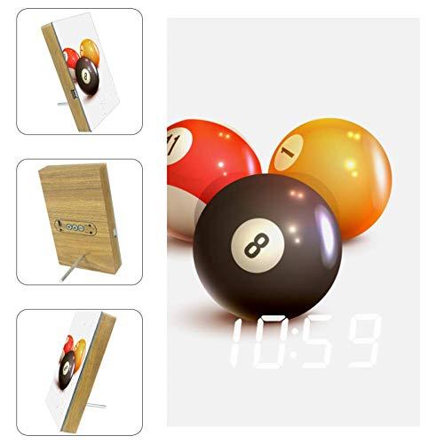 Nananma Digitaler LED-Wecker, Billiard-Spiel-Druck, USB-Ladeanschluss, Schlaf-Timer, Anzeige von Datum, Temperatur