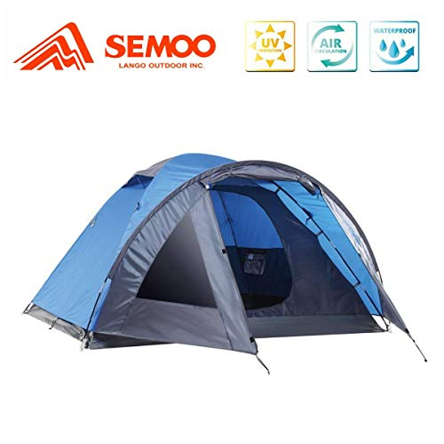 SEMOO 3 Person Camping Tents 4Season Double Layers Lightweight Family Tent Easy Setup for Backpacking Hiking Traveling Blue