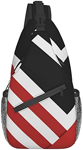 Bolso bandolera de moda adecuado para viajes diarios, deportes al aire libre, senderismo, moderno cojín abstracto, negro, rojo, blanco, gris