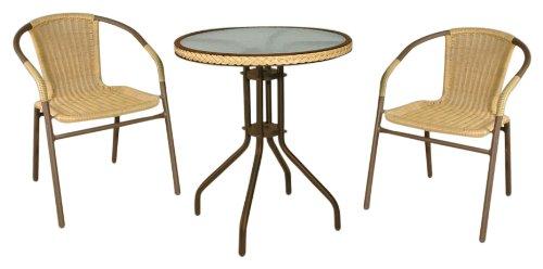 Hansen Outdoor 10/100SET3 Outdoormöbel Set 3-teilig, bestehend aus: 2 Sessel, 1 Tisch, Sessel Breite: 54 cm, Tiefe: 58 cm, Höhe: 75 cm, SH 43 cm, Tisch ø 58 cm, H 70 cm