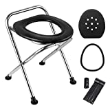LIFEI Portable Camping Toilet Seat Folding Travel Toilet Commode Chair with Lid, Porta Potty Chair Collapsible Outdoor Road Toilet for Camping, Fishing, Off-Road Driving, Hiking