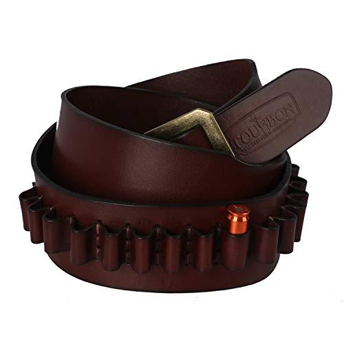 TOURBON Adjustable Leather Bandolier Pistol Cartridge Belt for 44/45- Brown