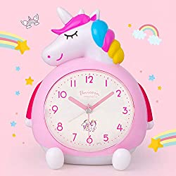 BEW Unicorn Alarm Clock for Kids, Loud Music Ringtones Snooze Alarm Clock with Backlight, Easy to Set Silent Battery Operated Traditional Alarm Clocks for Girls Bedroom, Bedside, Table, Gift (Pink)