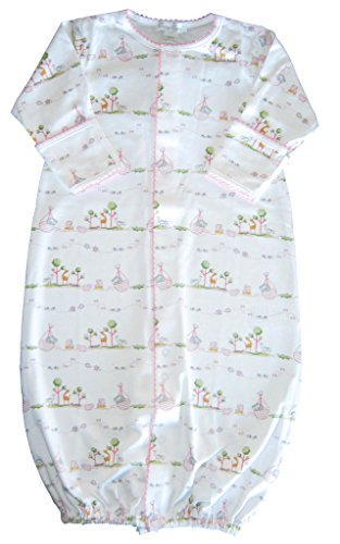 Kissy Kissy Baby-Girls Infant Noah's Print Convertible Gown-Pink-Newborn