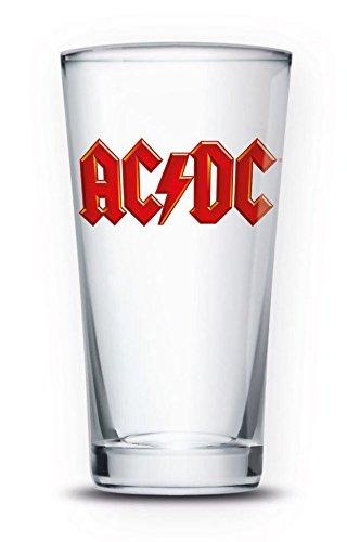 AC/DC - Bicchiere in vetro trasparente, 9 x 9 x 15 cm