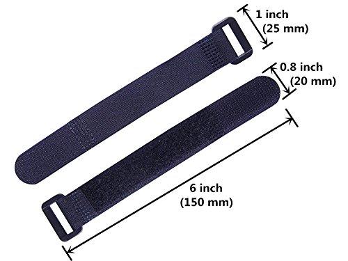 "Elantek 25pcs Black Reusable Fastening Cable Straps, Hook and Loop Cable Tie Down Straps 0.8"" x 6"""