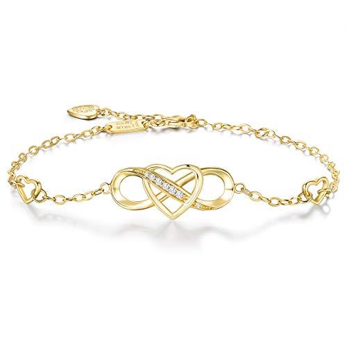925 sterline d'argento Infinito Braccialetto - Billie Bijoux ' Amore eterno' Infinity Heart Bracciale regolabile con diamanti placcati oro bianco Miglior regalo per ragazze (C-gold)