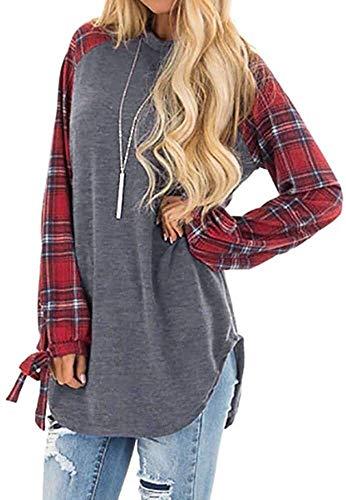 Alessioy Mujeres De La Camiseta Del Bloque Cuello Del De Color Redondo Vida de la Moda Suéter De La Tapa De La Blusa De Manga Larga Suéteres Tapas Ocasionales De La Manga Larga De Las Blusas De La Tún