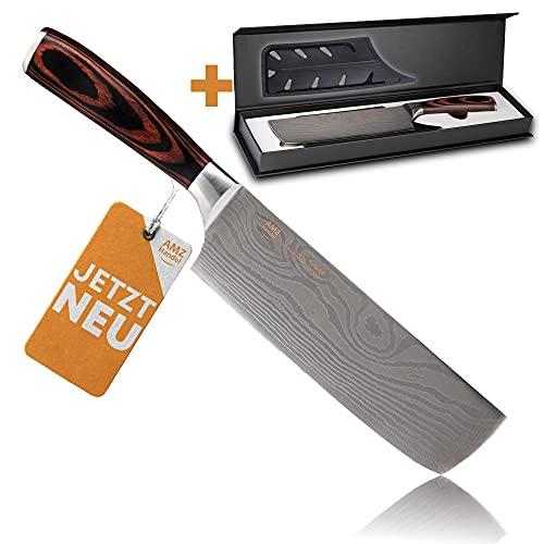 Hackmesser extrem scharf - Klingenlänge 18cm Kochmesser besonders handlich dank Pakkaholz - Japanisches Messer einzigartig - Profi Knife ideal als Allzweckmesser