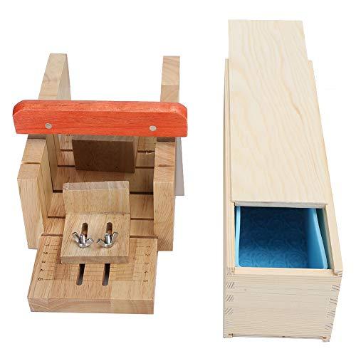 HENGtaoSM Molde de jabón hecho a mano 1000Ml Juego de dispensador de jabón de corte de roble Set de dispensador de jabón de silicona Caja de madera con ranura de corte a escala Caja de madera