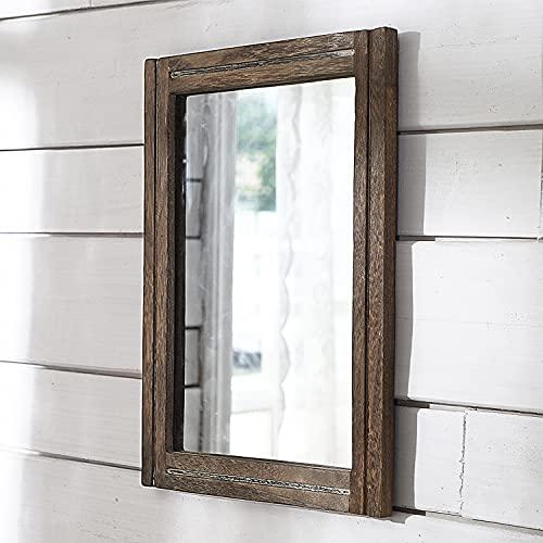 AAZZKANG Espejo rústico con marco de madera, rectangular, para pared, dormitorio, baño, decoración de pared