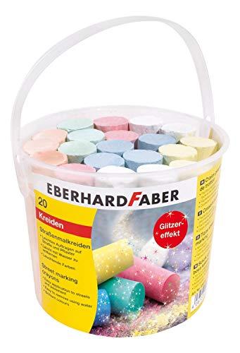 Eberhard Faber 526520 - Straßenmalkreiden in 5 leuchtenden Farben mit Glitzereffekt, Eimer mit 20 Kreiden, für bunten Malspaß auf Asphalt, Straßen und Gehwegen
