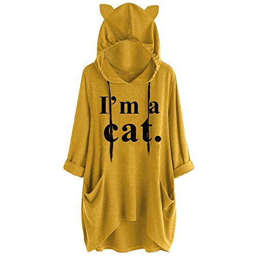 VJGOAL Sudadera con Capucha Estampada I'm a Cat para Mujer Orejas de Gato Otoño Invierno Tallas Grandes Casual Suelto de Manga Larga con Dobladillo Irregular Tops con Bolsillos