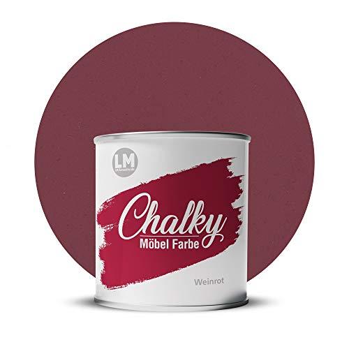 LM-Kreativ Chalky Möbelfarbe deckend 1 Liter / 1,35 kg (Weinrot), matt finish In- & Outdoor Kreide-Farbe für Shabby-Chic, Vintage und Landhaus Stil