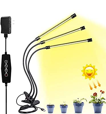 LED Grow Light for Indoor Plant,Elaine Upgraded Version 60W LED Auto ON/Off Timer Full Spectrum Plant Lights 3/6/12H Timing 5 Dimmable Levels for House Garden Hydroponics Succulent Growing