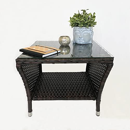 Eleganter Polyrattan Beistelltisch mit Tischglasplatte und Ablagefläche, 50x50cm - Braun - Gartentisch Teetisch