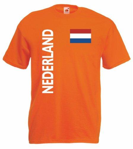 world-of-shirt Nederland/Holland Herren T-Shirt Trikot|orange XL