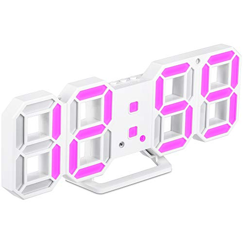 3D Digital Clock,Wall LED Number Time Alarm Clock with 3 Auto Adjust Brightness,Led Electronic Clock with Snooze Function,Modern Night Light Clock Date,Temperature Display,2 Light Colors Conversion …