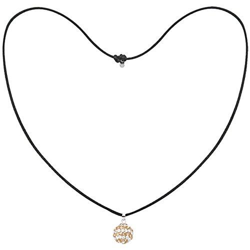 Tresor Paris Gold & White Spiral 14mm Crystal Pendant, Black Cord Necklace 019150