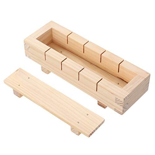 Caja de molde de madera rectangular para sushi Kit de creación de sushi Kit molde de rodillos de arroz sushi DIY Herramientas para la fabricación de utensilios de cocina (como se muestra)