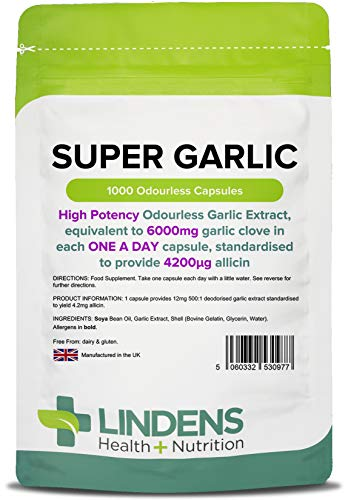 Lindens Super Garlic 6000mg High Strength Capsules | 1000 Pack | High Potency odourless Garlic Extract, Equivalent to 6000mg Garlic Clove in Each one a Day Capsule