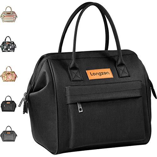 longzon 15L Kühltasche Lunchtasche Picknicktasche Wiederverwendbare Faltbar Thermotasche Kühltasche für Camping, BBQ, Wandern, Picknick- schwarz