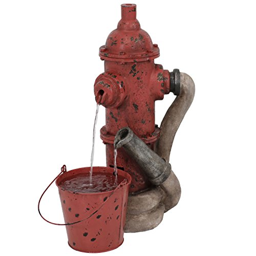 Sunnydaze Fire Hydrant Water Fountain with Bucket, Outdoor Garden Waterfall Feature, 28-Inch Tall