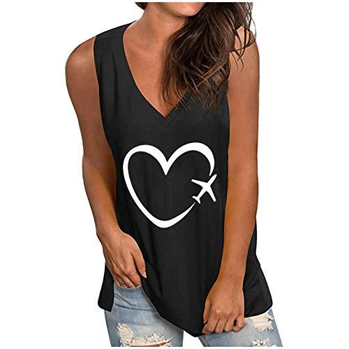 Masrin Frauen Weste V-Ausschnitt Liebe Herz Druck Hemden Flugzeug Grafik T-Shirt Sommer einfarbig lose Tanktops lässig ärmellose Bluse(XXXL,#C Schwarz)