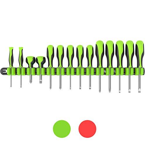 Olsa Tools Premium Wall Mount Screwdriver Organizer | Black Nylon + Neon Green Clips | Holds 14 Screwdrivers