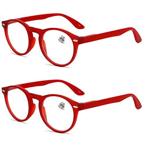 KOOSUFA Lesebrille Herren Damen Retro Runde Nerdbrille Lesehilfen Sehhilfe Federscharniere Vollrandbrille Anti Müdigkeit Brille mit Stärke 1.0 1.5 2.0 2.5 3.0 3.5 4.0 (2x Rot, 3.5)