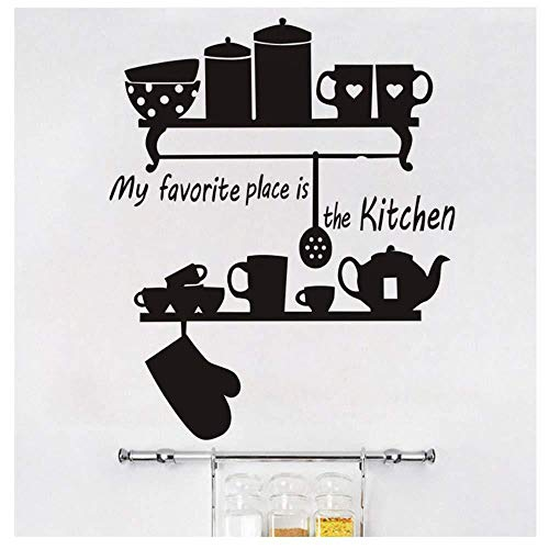 Mi lugar favorito es la taza de la tetera de la cocina, estante de cerámica, etiqueta de la pared, decoración del hogar, decoración mural, vinilo 58x70 cm