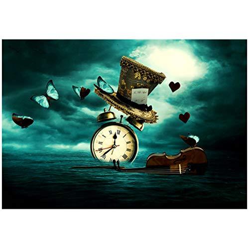 zhengchen Impresión en Lienzo Reloj Abstracto Violín Sombrero de Mariposa Arte Creativo Pintura en Lienzo Póster e Impresiones Imagen de Arte de Pared Decoración del hogar 60x90cm Sin Marco