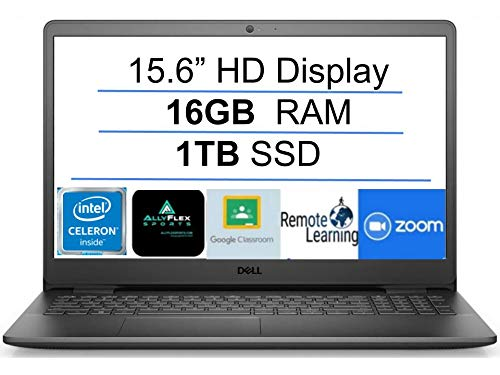 """2021 Newest Dell Inspiron 15 Business Laptop Computer: 15.6"""" HD Display, Intel Dual-Core Celeron N4020(Up to 2.8GHz), 16GB RAM, 1TB SSD, WiFi, Bluetooth, HDMI, Webcam, Windows 10 S, Gift Mousepad"""