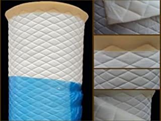 "Vinyl Quilted White Fabric w/ 3/8"" Foam Backing Upholstery by The Yard"