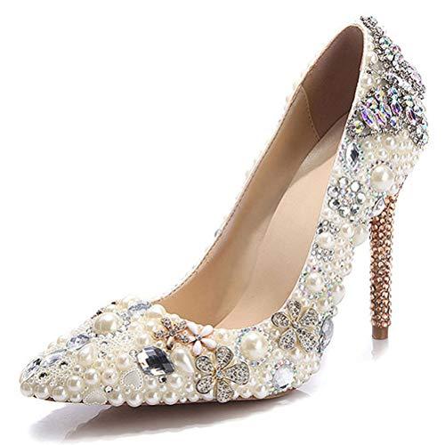 Insole 11Cm High Heel, Schmetterlings-Muster-Farbe Rhinestone-Perlen Spitz Weibliche Stiletto Braut-Absatz Für Hochzeitsbankett Prom,41