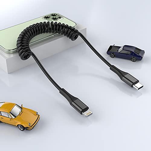 MTAKYI Cable Lightning USB C en espiral [1.6M/5.25FT], Cable Lightning retráctil certificado MFi Cable USB C para cargador de iPhone Cable de carga Compatible con iPhone 12 11 Pro Max XR XS X 8 7 Plus