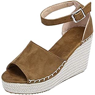 Customer reviews Byste Womens Wedge Heeled Espadrilles Ankle-Strap Sewing Peep Toe Sandals Hasp Flatform Shoes (40, Brown)