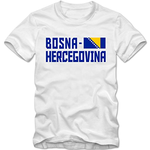 Herren T-Shirt Team Bosna Hercegovina Fußball Basketball XS-4XL DTG, Farbe:weiss;Größe:M