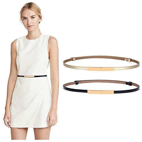 WERFORU 2 cinturones ajustados de piel para mujer, ajustables, a la moda, delgados, para vestido Negro + dorado. Medium