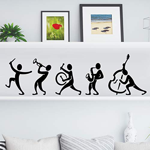 Music Band Kitchen Wall Tea Vintage Sticker Decalcomania del vinile Art Restaurant Pub Decor Chitarra Murale Decorazione Strumenti Drum Fluite Saxophone