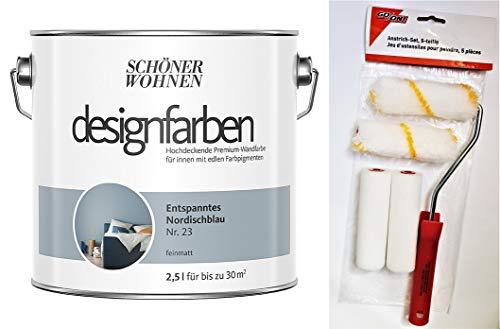 Schöner Wohnen designfarben feinmatte Wandfarbe für innen 2,5 Liter mit go/on Rollen-Set 5-tlg (Nr 23 Entspanntes Nordischblau)