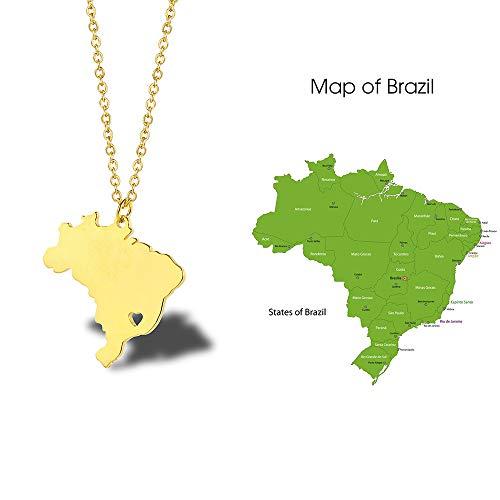 Braziliaanse kaarthalsketting, titanium staal 18 karaat goud Zuid-Amerika land topografische kaart Ins Ladies Clavicle Chain