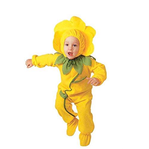 NET TOYS Kinder Blümchen Kostüm Blumen Kinderkostüm 104 cm gelb Blumenmädchen Jumpsuit Blüte Mädchenkostüm Blumenkind Overall Flower Karnevalskostüm Mädchen