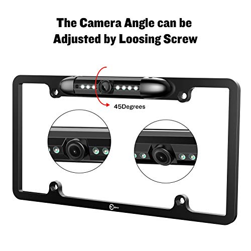 Esky License Plate Backup Camera, Rear View Camera 170 Degree Viewing Angle Universal Night Vision Waterproof High Sensitive 7 Bright LED Reversing Car Camera
