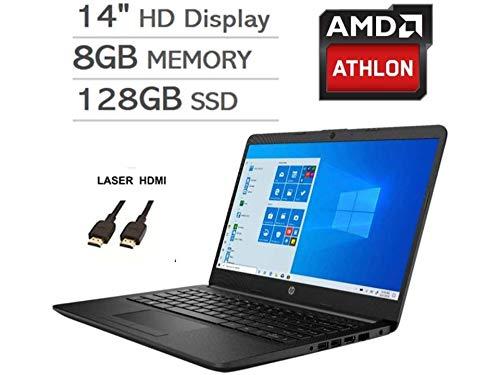 2020 Newest HP 14 Inch Premium Laptop, AMD Athlon Silver 3050U up to 3.2 GHz(Beat i5-7200U), 8GB DDR4 RAM, 128GB SSD, Bluetooth, Webcam,WiFi,Type-C, HDMI, Windows 10 S, Black + Laser HDMI