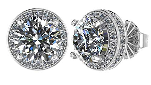 NANA Sterling Silver & 14k post Swarovski CZ Round Halo Stud Earrings- 6.5mm-2.50cttw -Platinum Plated